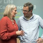 Hugh Fearnley-Whittingstall with delegate at Food for Life conference
